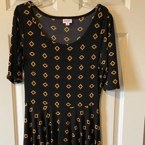 LuLaRoe NICOLE Geometric Print Fit & Flare Dress L